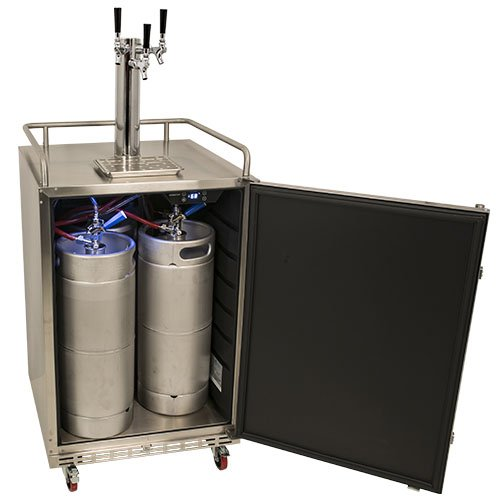 full size triple tap built in outdoor kegerator stainless steel 0 6